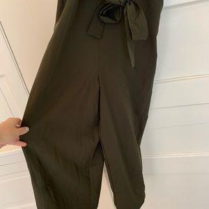 Pants - Dark green wide leg crop overalls